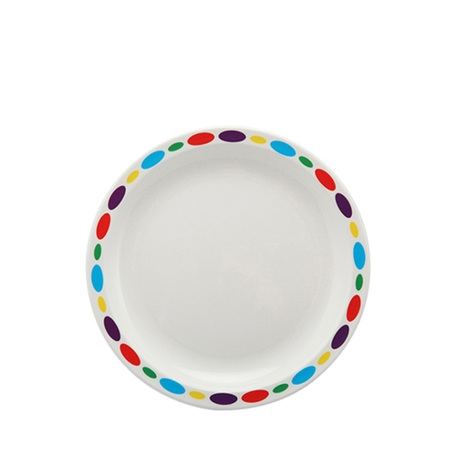 Harfield Polycarbonate Large Duo Plate with Pebbles Rim 23cm White