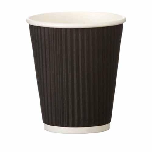 Triple Wall Ripple Paper Cup 8oz  Black