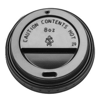 Domed Hot Cup Lid 8oz Black