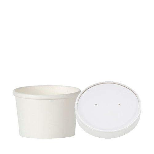 Paper Soup Container & Lid 8oz White