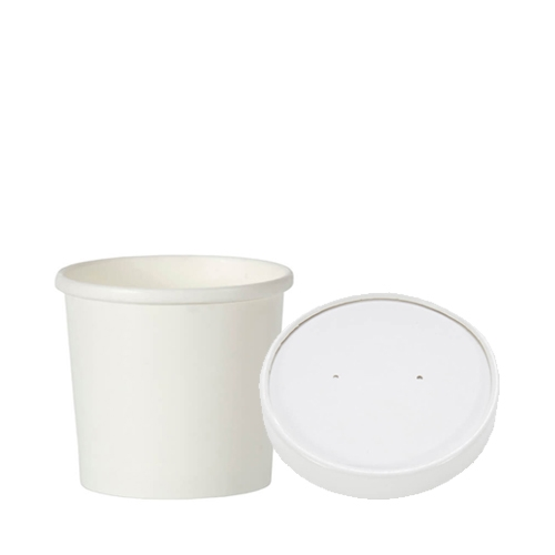 Paper Soup Container & Lid 12oz White