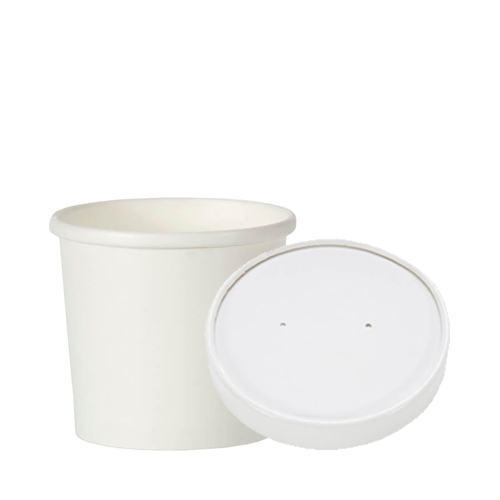 Paper  Soup Container & Lid 16oz White