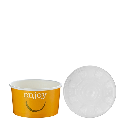 Huhtamaki Enjoy  Food Container & Lid 7oz Orange