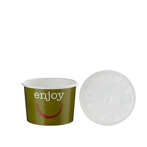 Huhtamaki Enjoy Soup Container & Lid 8oz Green