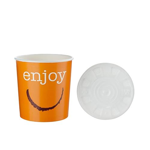 Huhtamaki Enjoy Soup Container & Lid 24oz Orange