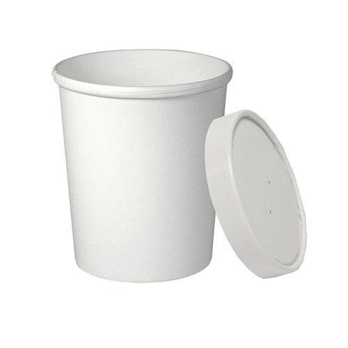 Soup Container Paper Lid 26-32oz White