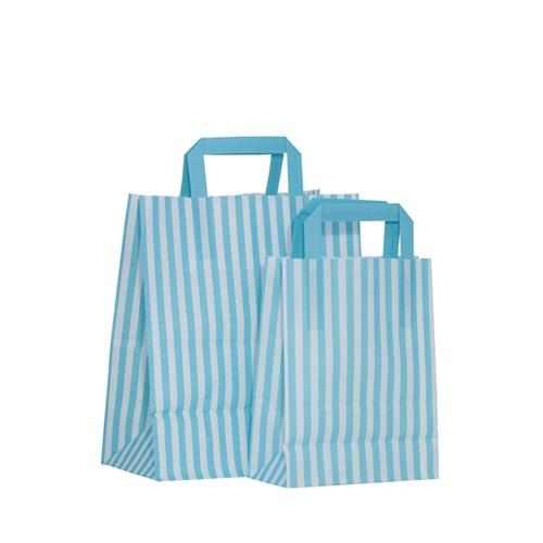 Candy Striped Paper Bag Large Aqua