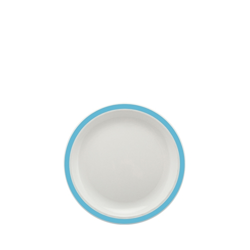 Harfield Polycarbonate Small Duo Plate with Summer Blue Rim 17cm White