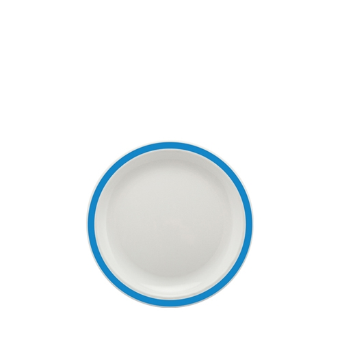 Harfield Polycarbonate Small Duo Plate with Medium Blue Rim 17cm White