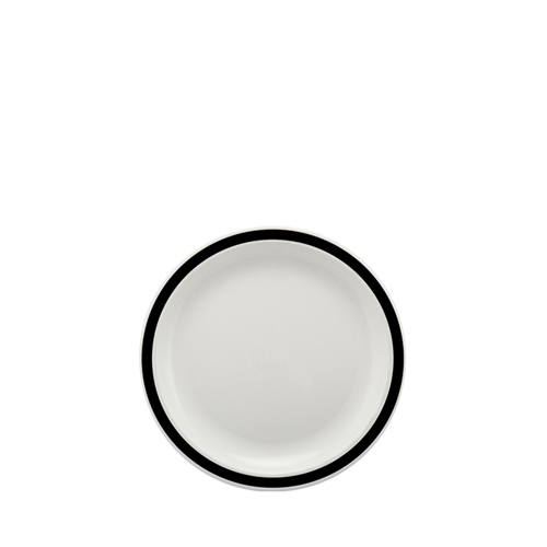 Harfield Polycarbonate Small Duo Plate with Black Rim 17cm White