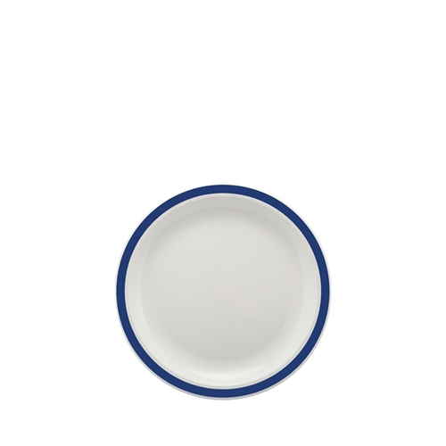 Harfield Polycarbonate Small Duo Plate with Royal Blue Rim 17cm White