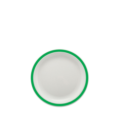 Harfield Polycarbonate Small Duo Plate with Emerald Green Rim 17cm White