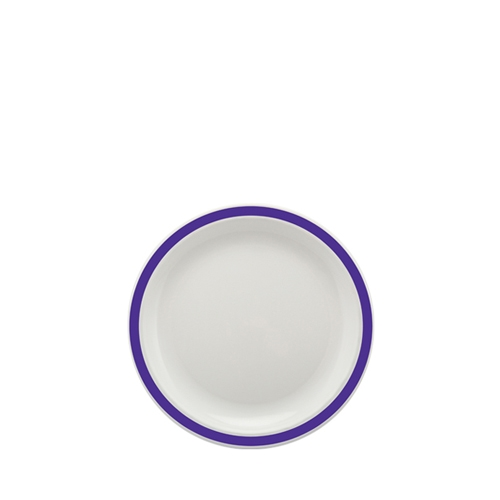 Harfield Polycarbonate Small Duo Plate with Purple Rim 17cm White