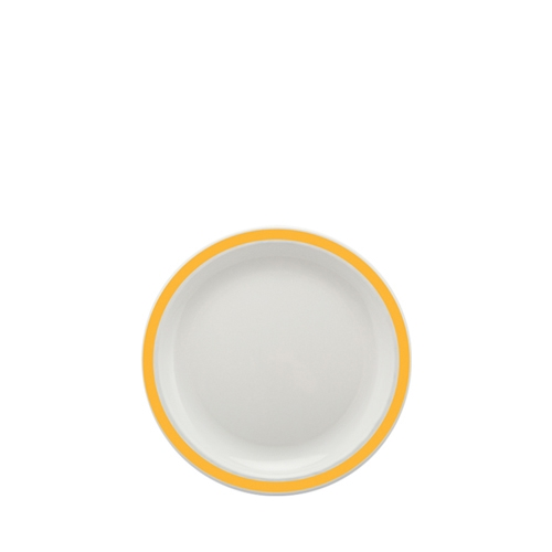 Harfield Polycarbonate Small Duo Plate with Yellow Rim 17cm White