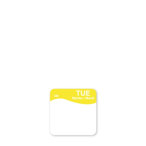 Dissolve-A-Way Label Tuesday 2.5cm Yellow