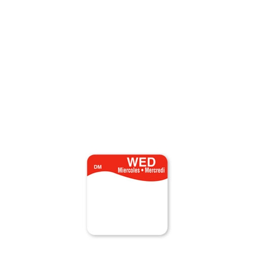Dissolve-A-Way Label Wednesday 2.5cm Red