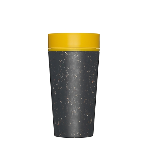 rCUP Premium Reusable Coffee Cups 34cl Black & Mustard