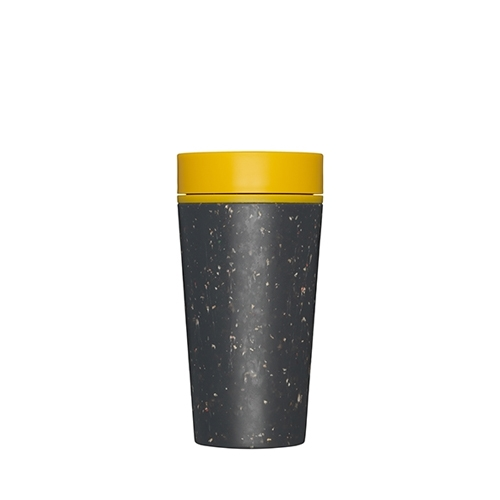 Premium Reusable Coffee Cups 34cl Black & Mustard