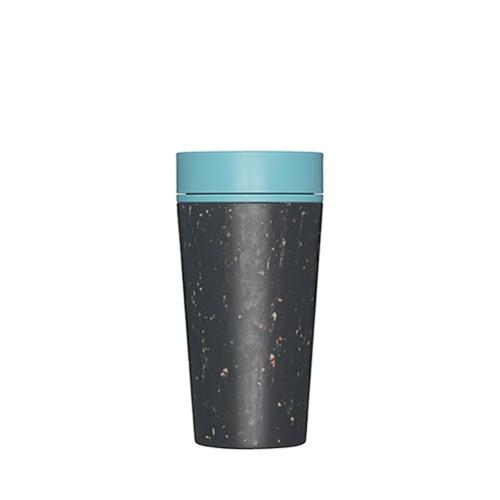 Premium Reusable Coffee Cup 34cl Black & Teal