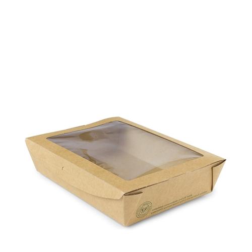 Vegware Salad Box with Large Window 18 x 13.5 x 4.5cm Brown
