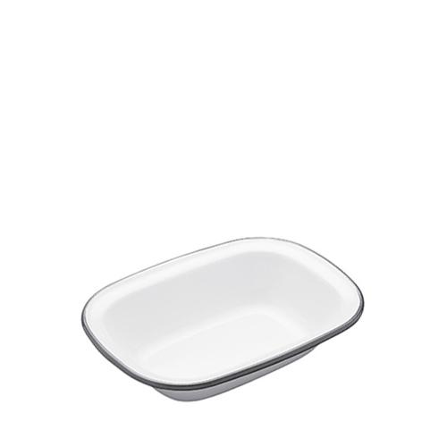 Kitchen Craft Enamel Oblong Pie Dish 16cm Grey Rim