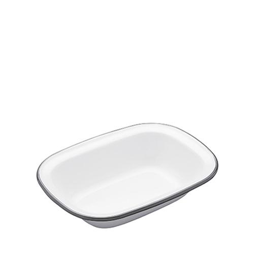 Kitchen Craft Enamel Oblong Pie Dish 18cm Grey Rim
