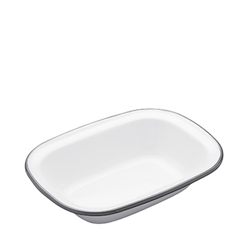 Kitchen Craft Enamel Oblong Pie Dish 20cm Grey Rim