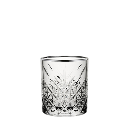 Utopia Timeless Vintage Double Old Fashioned with Gunmetal Rim 12.5oz Clear