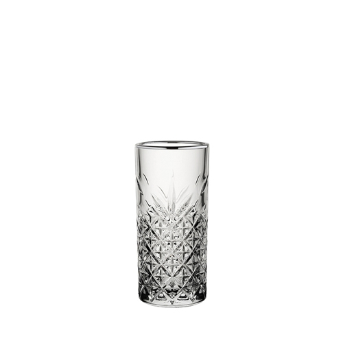 Utopia Timeless Vintage Long Drink Glass with Gunmetal Rim 10.5oz Clear
