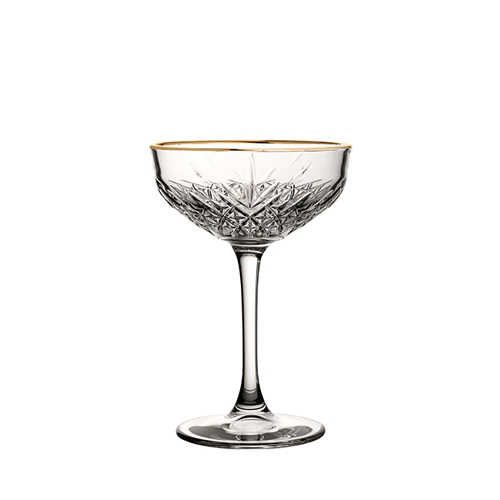 Utopia Timeless Vintage Coupe Glass with Gold Rim 27cl Clear