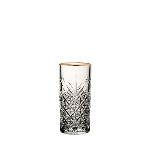 Utopia Timeless Vintage Long Drink Glass with Gold Rim 10.5oz Clear
