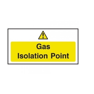 Gas Isolation Point  Self Adhesive Sign 100 x 200mm Yellow