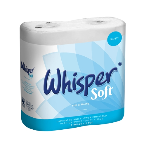 Whisper Multi Pack Soft 2 Ply Luxury Toilet Roll 200 Sheets White