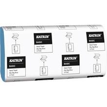 Katrin Basic 1 Ply Zig Zag Hand Towels 250 Sheets per sleeve Blue
