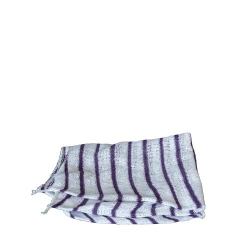 Stockinette Dish Cloth White, Purple Stripes