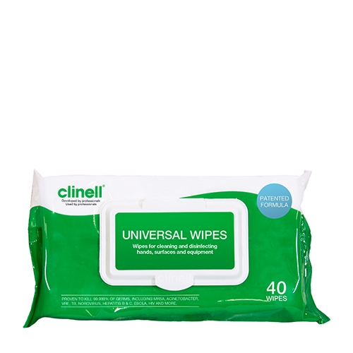 Clinell 2 in 1 wipes for cleaning and disinfection (40) 280mm x 195mm