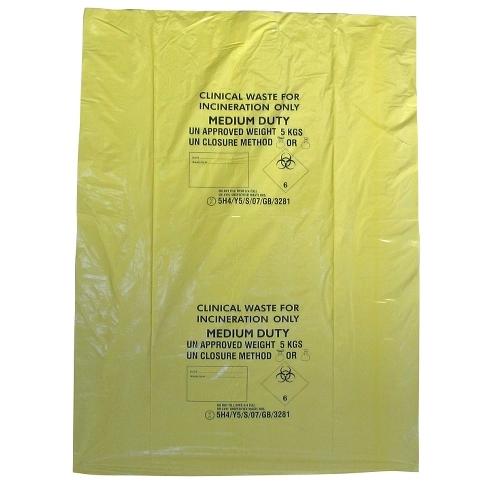 "Heavy Duty Clinical Waste Sack 15x28x39"" Yellow"
