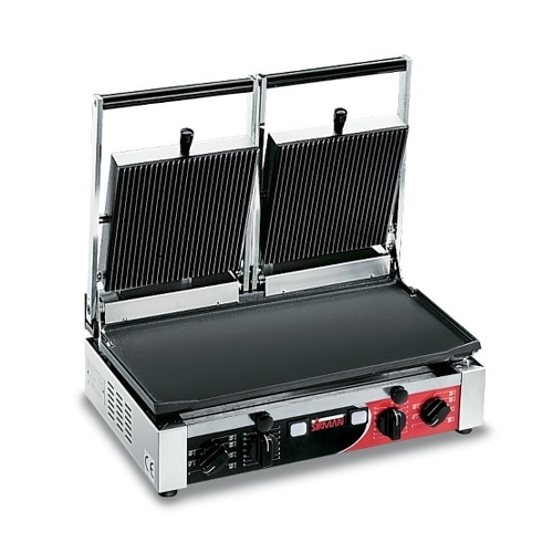 Sirman Double Panini Grill with Flat & Ribbed Surface Stainless Steel