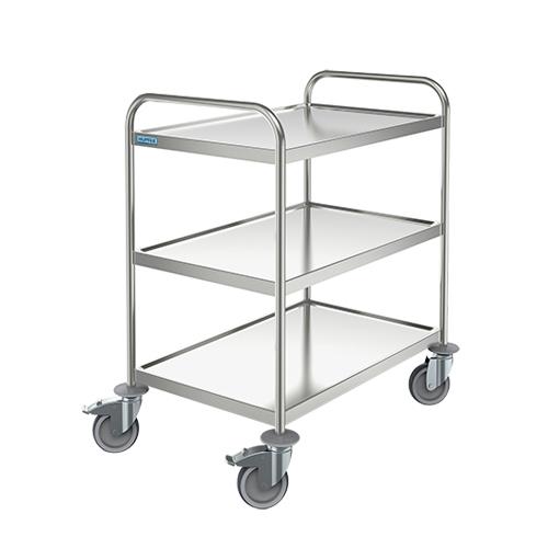 Trak Hupfer General Trolley - 3 shelves - Medium Stainless Steel