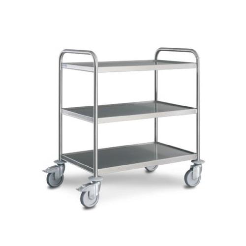 Trak Hupfer General Trolley - 3 shelves - Large Stainless Steel