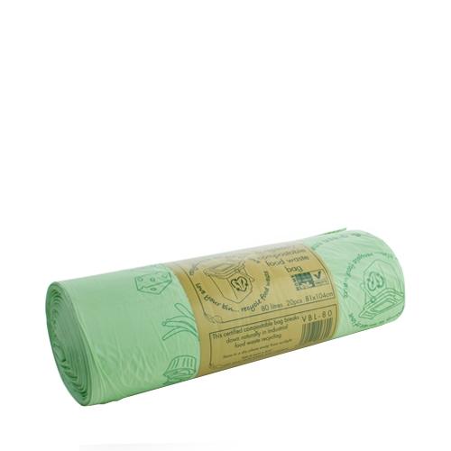 Vegware Compostable  Waste Sack 80 Ltr Green