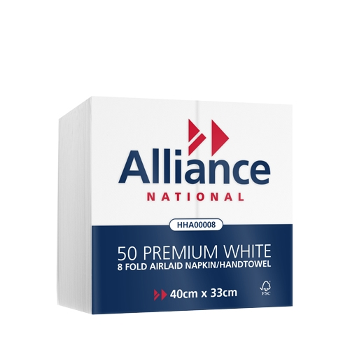 Alliance Airlaid Hand Towels (8 fold) 40 x 33cm White