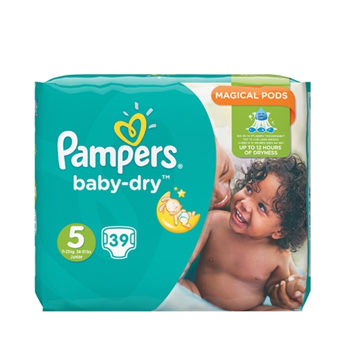 Pampers  Baby Dry Essential Nappies Size 5 39 Nappies per Pack White