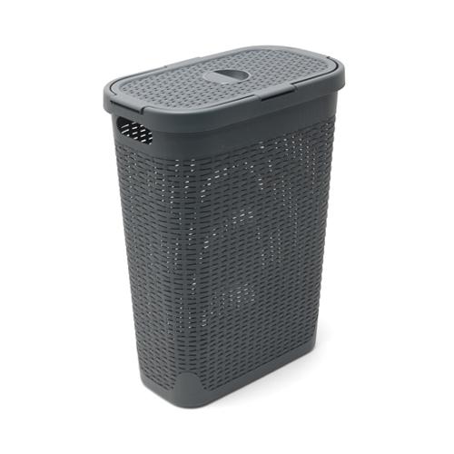 Rattan Effect Slim Laundry Basket 40 Ltr Charcoal