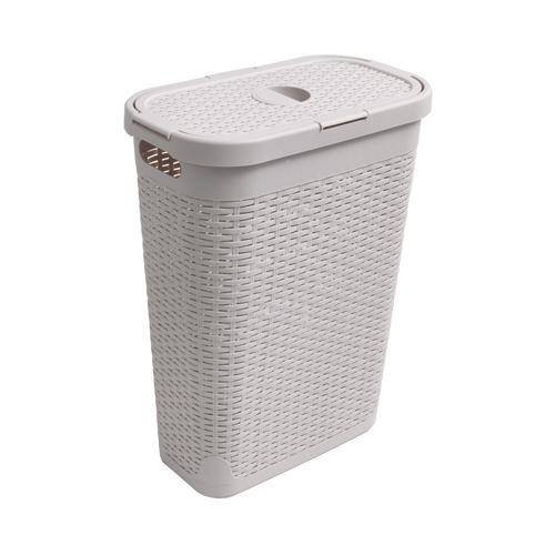 Rattan Effect Slim Laundry Basket 40 Ltr Calico