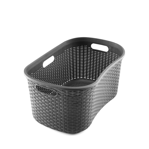 Rattan Effect Hipster Laundry Basket 40L Charcoal