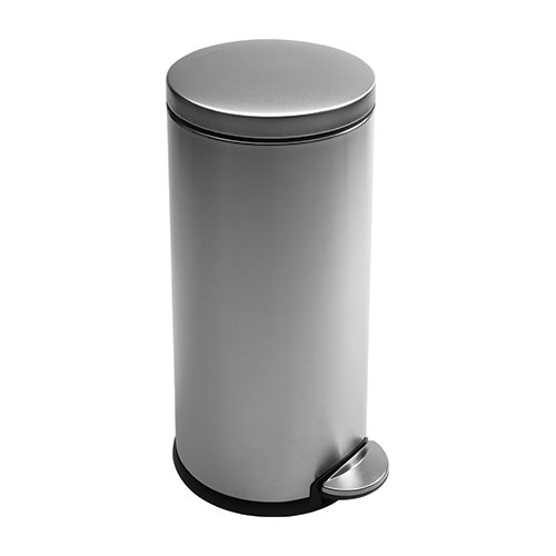 Simplehuman Brushed Steel Round Pedal Bin 30Ltr Silver