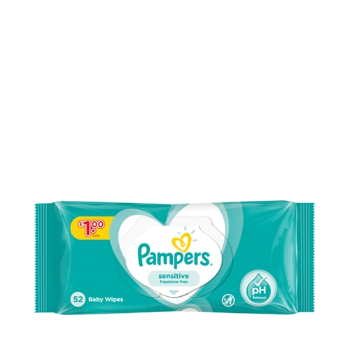 Pampers  Sensitive Baby Wipes 52 wipes per Pack White