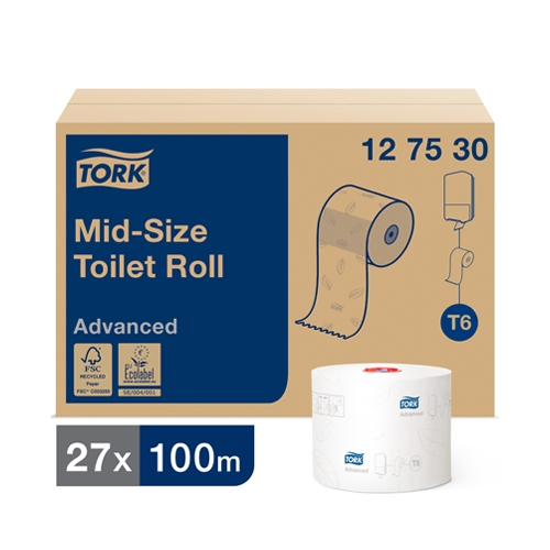 Tork Mid Size Advanced Toilet Roll 2 Ply 100m White