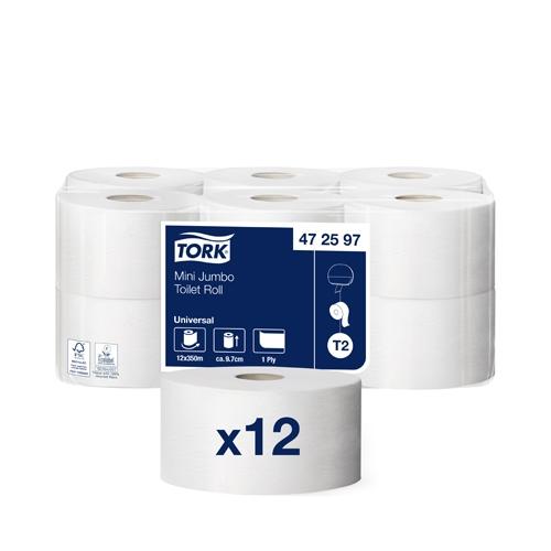 Tork Mini Jumbo 1 Ply Toilet Roll 350M White